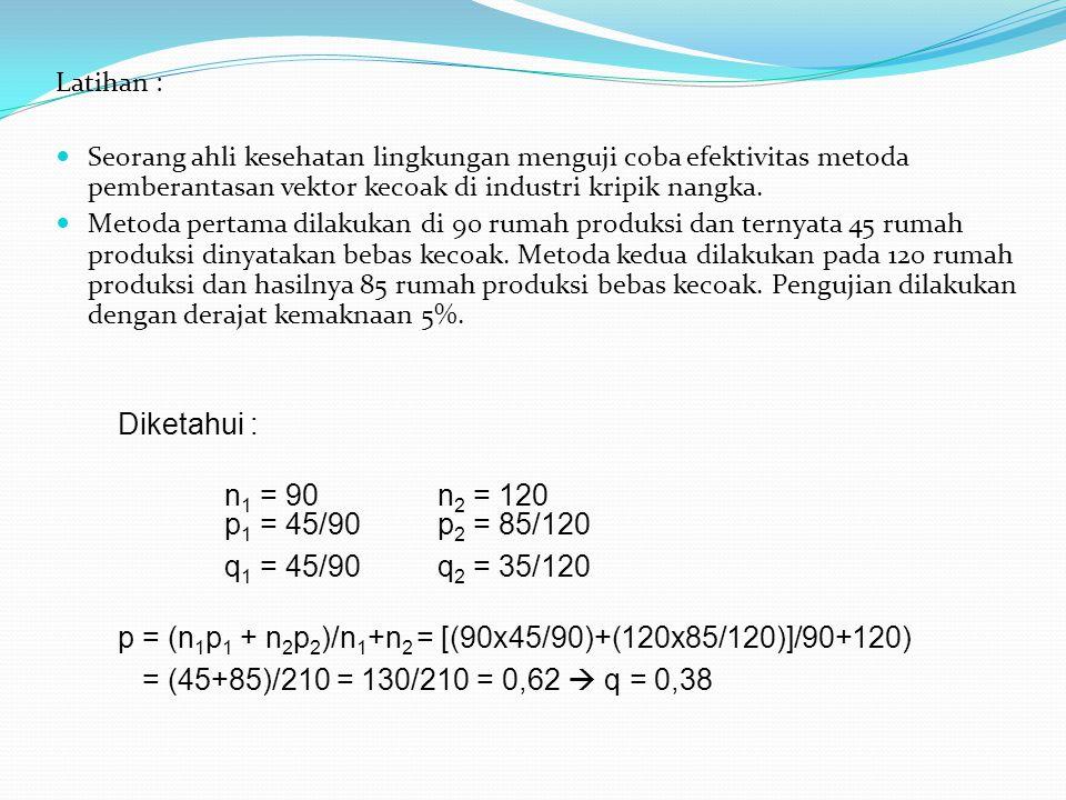 p = (n1p1 + n2p2)/n1+n2 = [(90x45/90)+(120x85/120)]/90+120)